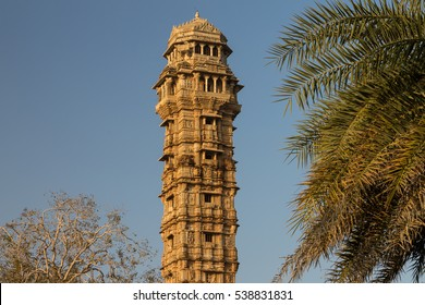 Tower of Victory (Vijay Stambha) in Chittor fort (15th AD). Chittorgarh (fortress of Chittor) is the largest fort in India & in Asia. It's UNESCO World Heritage Site as Hill Forts of Rajasthan.