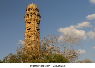 Tower of Victory (Vijay Stambha) in the fort of Chittor. The tower was erected in the 15th century. Chittorgarh is the largest fort in India & Asia, it's a UNESCO World Heritage Site.