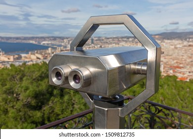 Tower Viewer Binoculars in Marseille France Panorama