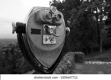 Tower viewer on a mountaintop (black & white)