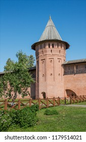 Tower and walls old Spaso-Euthymius monastery in Suzdal. Russia