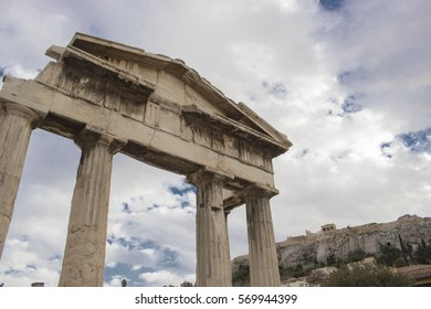 """The Tower of the Winds or the Horologion of Andronikos Kyrrhestes is an octagonal Pentelic marble clocktower in the Roman Agora in Athens that functioned as a horologion or """"timepiece""""."""