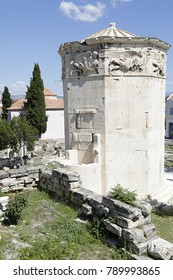 Tower of Winds and remains of Roman Agora in the old town of Athens, Greece