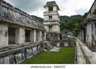 The tower within the Palace at Palenque, Chiapas, Mexico