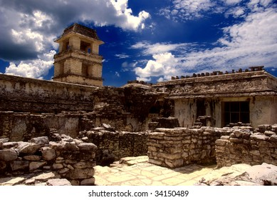 The tower within the Palace at Pelenque, Chiapas, Mexico