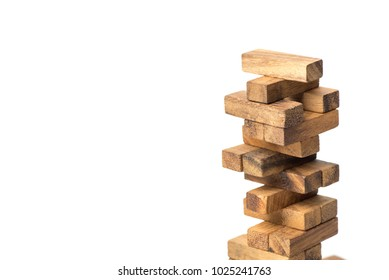 The tower from wooden blocks from the top view, Concept : Business, contruction, engineering, planning.