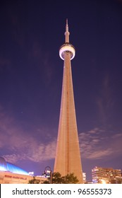 Towering CN Tower Skyscaper at night