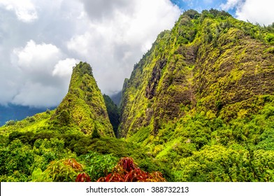 The towering monolith covered in tropical plant life known as the 'lao Needle in the West Maui Mountains, Hawaii.