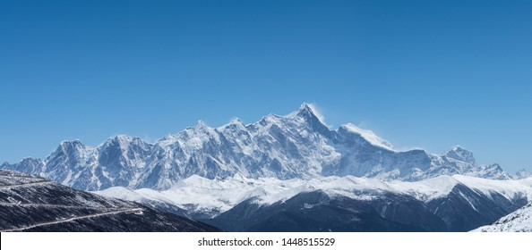 towering mountain peak background, namcha barwa peak panorama, is the highest peak in the eastern end of the Himalayas, with an altitude of 7,782 meters, tibet, China