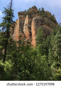 Towering red rock cliffs on the West Fork trail in Sedona.
