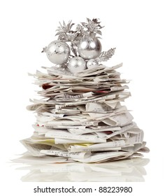 Towering stack of receipts make a holiday tree