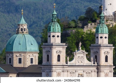 The Towers of the Baroque Salzburg Cathedral in Austria