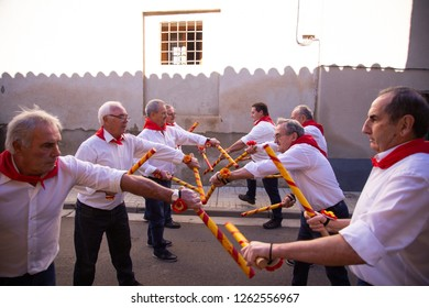 Towers of Berrellen, Zaragoza. Spain. November 24, 2018, people dancing the paloteo a traditional dance of the village of Torres de berrellen aragon, which is made with sticks