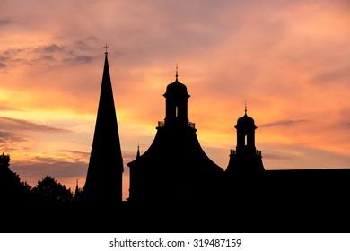 towers of bonn germany evening sundown background