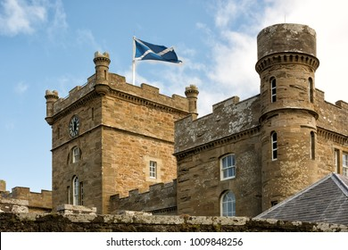 Towers of Calzean castle in Scotland, UK. Culzean Castle is a castle overlooking the Firth of Clyde, near Maybole, Carrick, on the Ayrshire coast of Scotland.