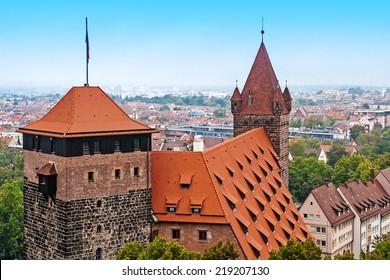 Towers of castle in Nuremberg, Bayern, Germany
