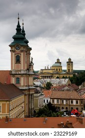 Towers of church and dome of the basilica in the Hungarian small town of Eger.