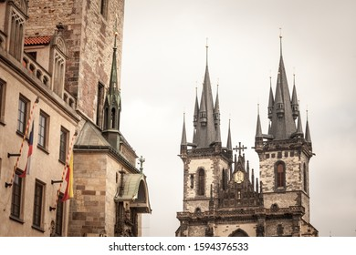 Towers of the church of our lady before tyn, also called chram matky bozi pred tynem or tynsky chram, in the old town of Prague, Czech Republic. it is a landmark of Old town Straromestska square.   - Shutterstock ID 1594376533
