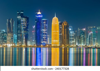 the towers of Doha cornice at night