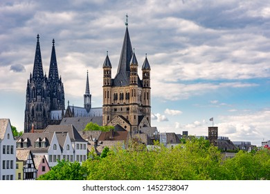 Towers of Great Saint Martin Church and Cologne Cathedral