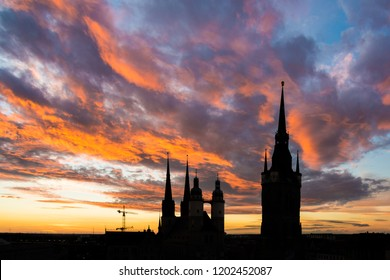 Towers of Halle Saale in Germany at sunset