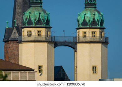 Towers of Halle Saale on a day in summer