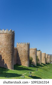 Towers of the historic surrounding walls in Avila, Spain