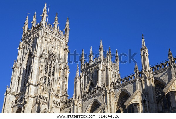 The towers of the historic York Minster in York, England.