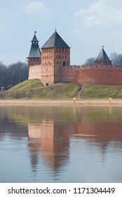 Towers of the Kremlin of Veliky Novgorod on a sunny April morning. Russia
