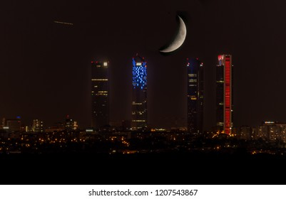 Towers and moon, Madrid, Spain