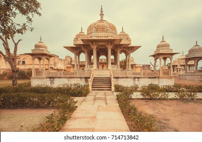 Towers on entrance of Gaitore Cenotaphs, royal cremation monuments of the Kachhwaha Rajputs with typical Rajasthani Carvings, Jaipur, India