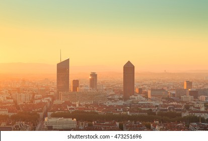Towers of Part-Dieu, Lyon, during a summer sunrise. Seen from Fourviere hill.