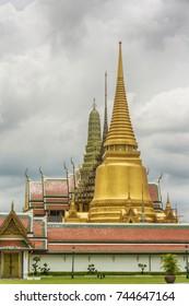 The towers: Phra Sri Rattana Chedi in Sri Lankan style, Phra Mondop, the library and Prasat Phra Thep Bidon or the Royal Pantheon - of the Grand Royal Palace in Bangkok (Thailand).