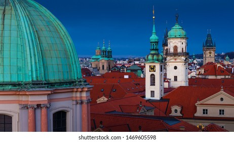 Towers and roofs of the historical city centre of Prague.