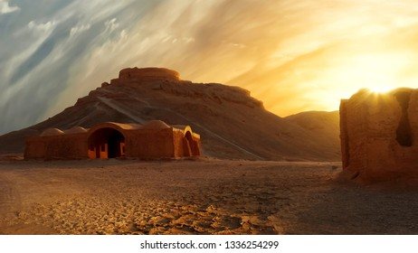 Towers of silence at sunset. Iran. The historical site of ancient Persia.