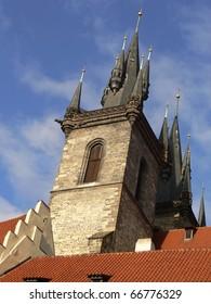 Towers of the Tyn Church in Prague (Czech Republic), gothic building