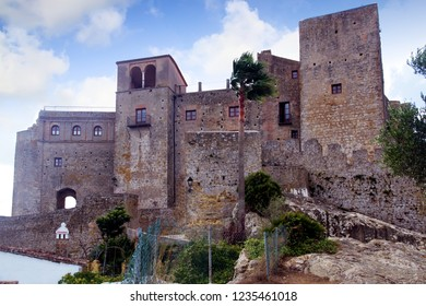 Towers and walls of the medieval town of Castellar de la Frontera in Cadiz, in Spain.