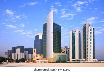 The towers in the West Bay commercial district of Doha, Qatar,