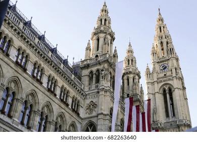 The towers of Wiener Rathaus Vienna City Hall, Austria