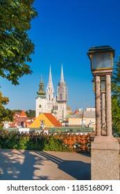 Towers of Zagreb cathedral and lanterns on Upper town
