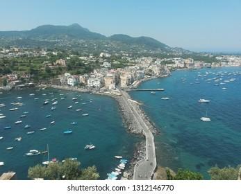 Towerview of the Ischia coastline (Italy)