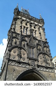Towet with a gothic style facade in Prague.