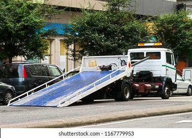 towing  truck car wrecker in city