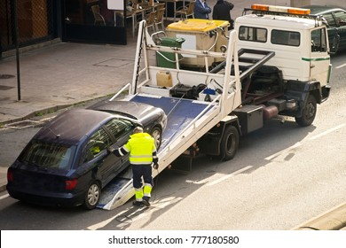 towing  truck car wrecker in city