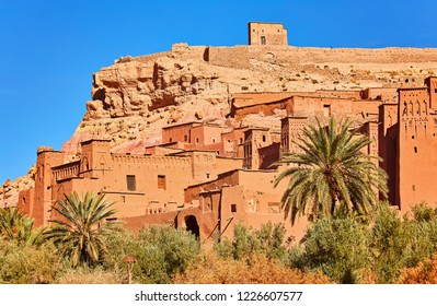 Town of Ait Ben Haddou near Ouarzazate on the edge of the Sahara Desert in Morocco.