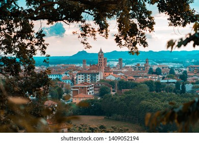 The town of Alba panoramic view landscape. Langhe region, Piedmont, Italy. Alba village is famous for truffle and wine tasting tour
