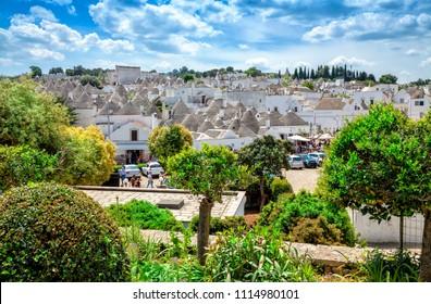 Town of Alberobello, village with Trulli houses in Puglia region, Southern Italy. Alberobello architecture and landmark. Alberobello cityscape.