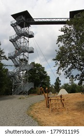 TOWN ALBRECHTICE,(Rozhledna Hraniční vrch Město Albrechtice), Czech Republic -  July 20, 2019:  Metal outlook tower with wide foot bridge.