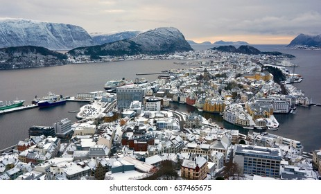 Town of Alesund, Norway from Aksla Viewpoint