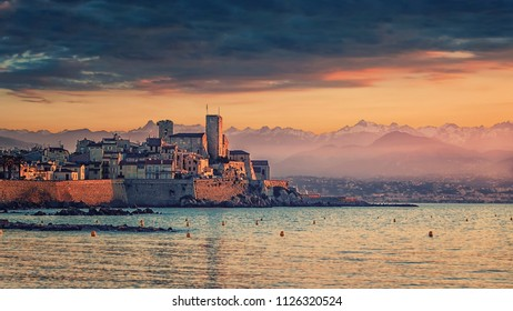 Town of Antibes at sunrise on the French Riviera